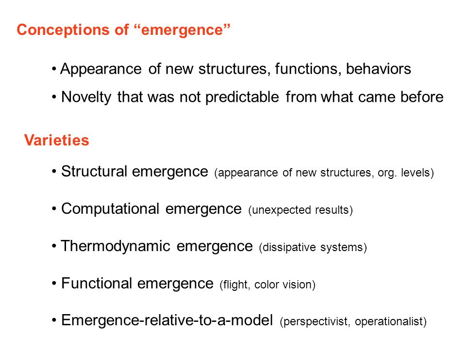 Conceptions of emergence