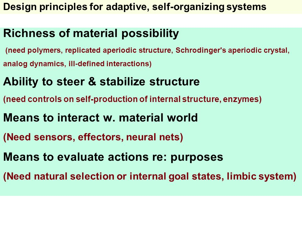 Design principles for adaptive, self-organizing systems