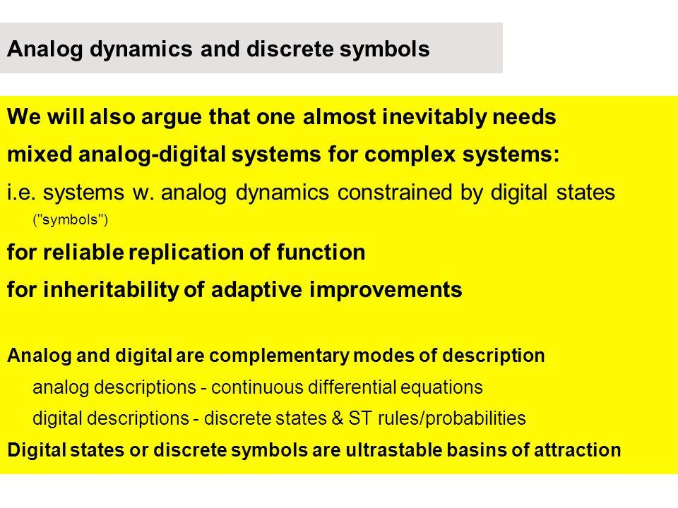 Analog dynamics and discrete symbols