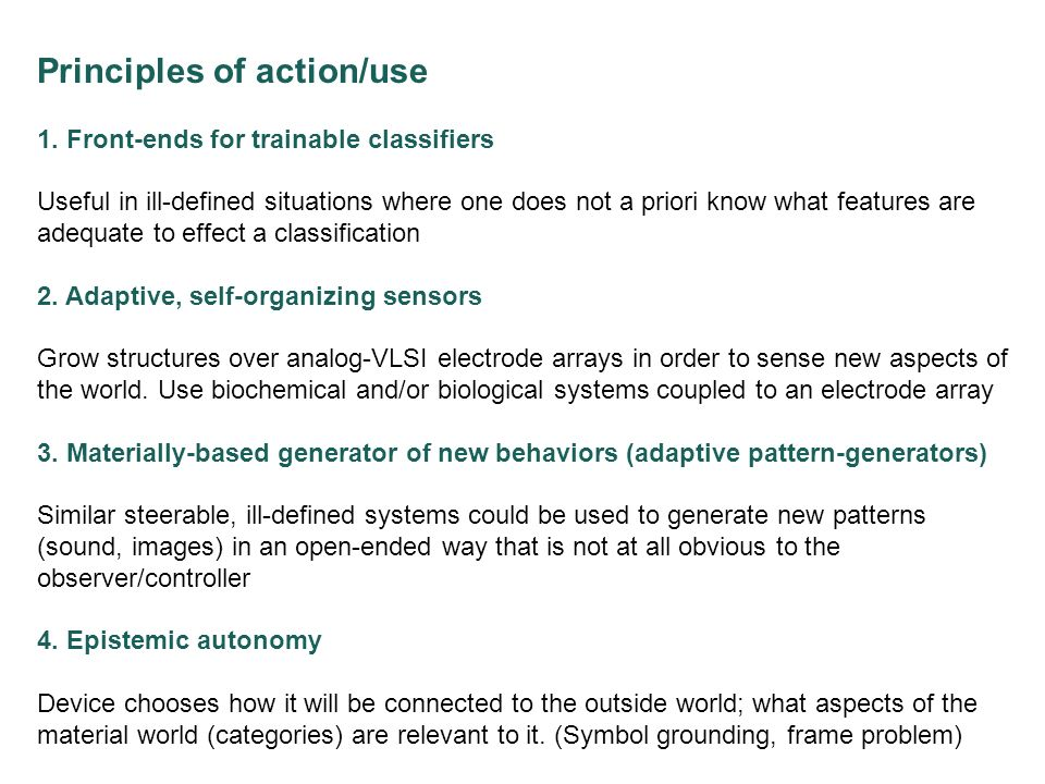 Principles of action/use