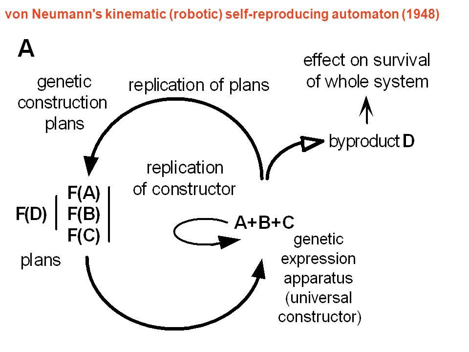 von Neumann s kinematic (robotic) self-reproducing automaton (1948)