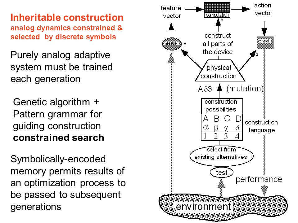Inheritable construction analog dynamics constrained & selected by discrete symbols