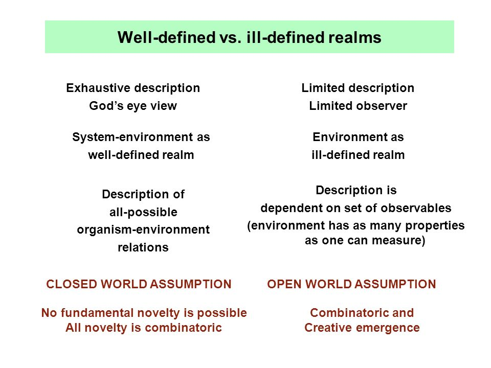 Well-defined vs. ill-defined realms