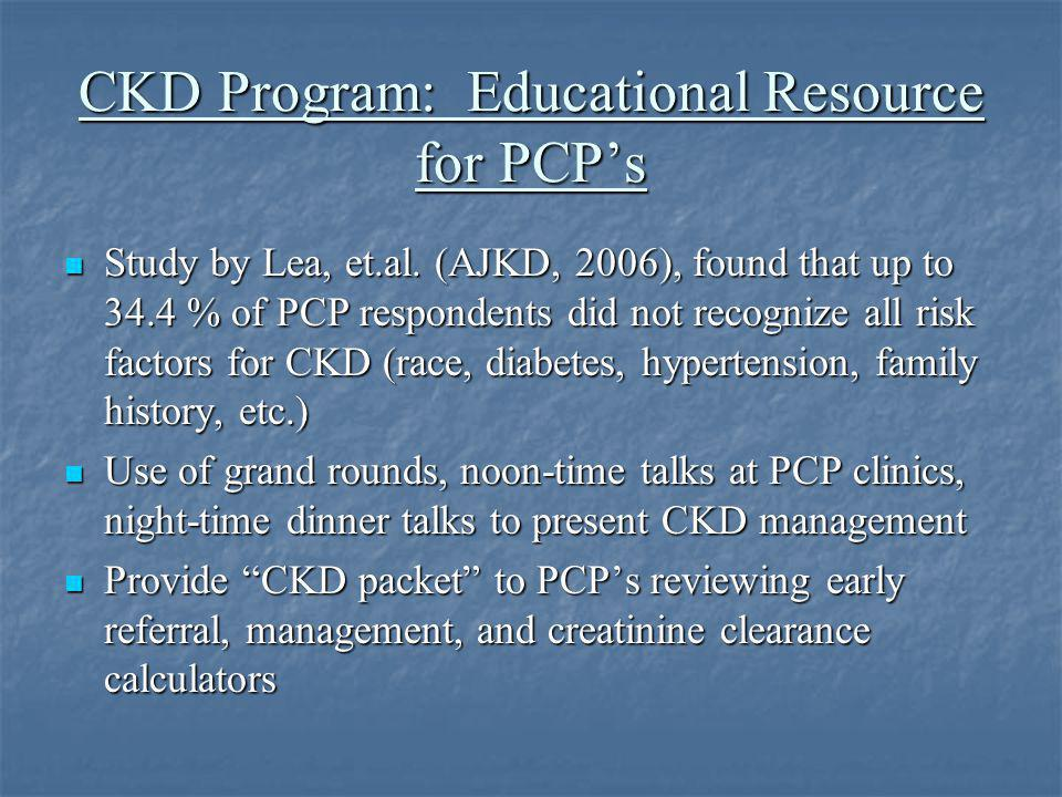 CKD Program: Educational Resource for PCP's