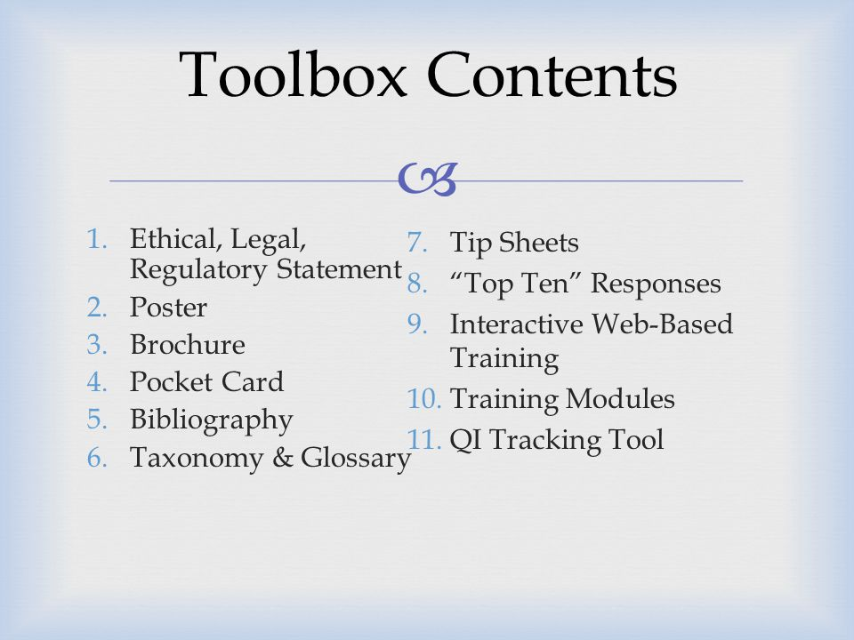 Toolbox Contents Ethical, Legal, Regulatory Statement Poster Brochure