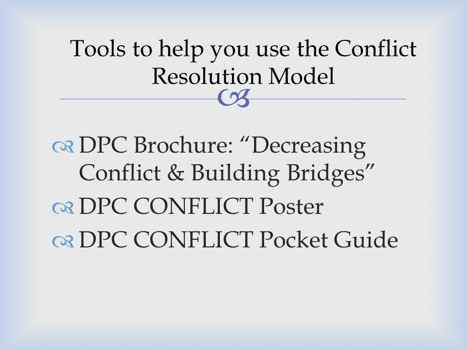 Tools to help you use the Conflict Resolution Model