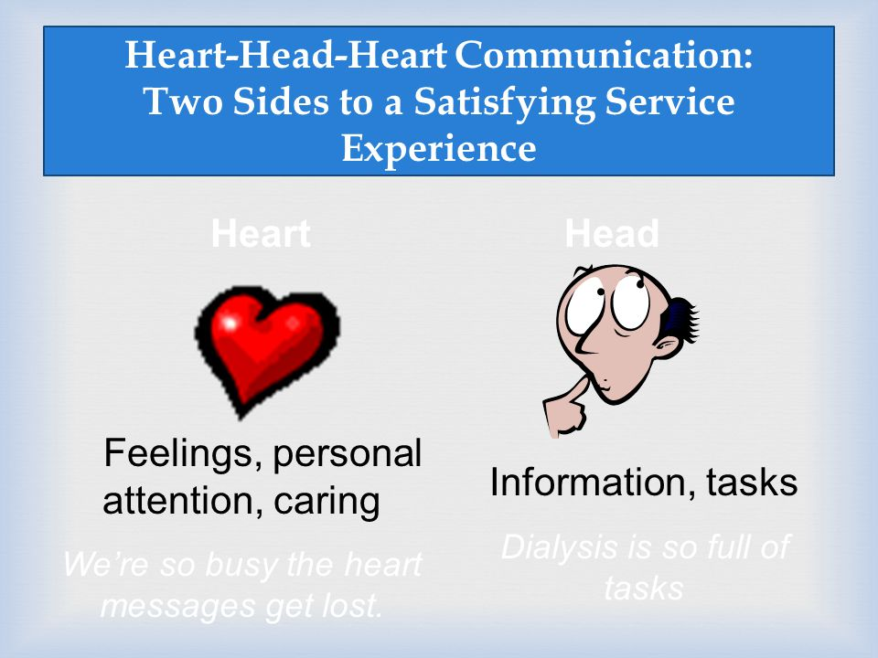 Feelings, personal attention, caring Information, tasks