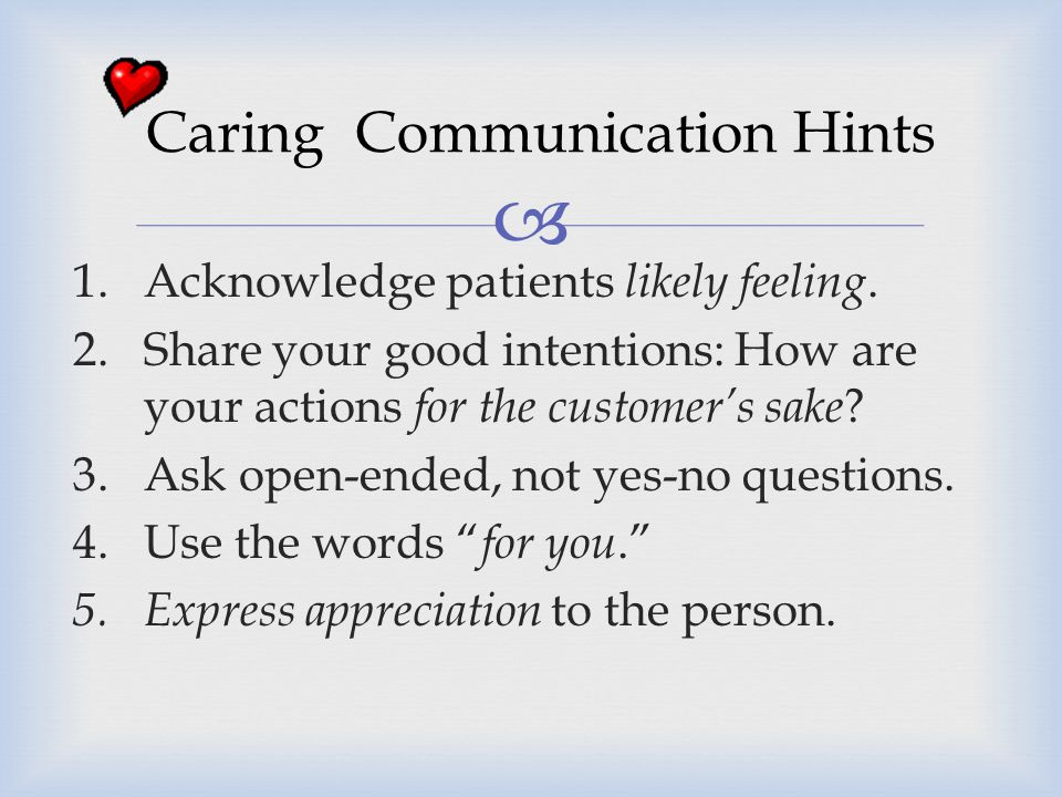 Caring Communication Hints