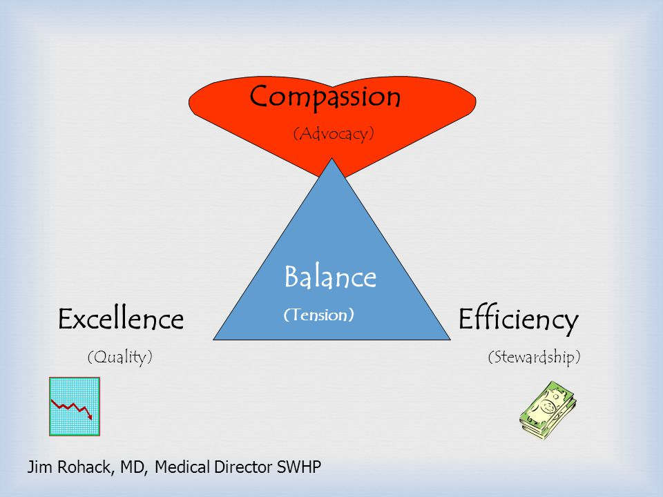 Compassion Balance Excellence Efficiency (Advocacy) (Tension)