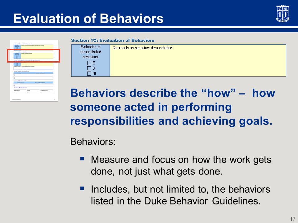 Evaluation of Behaviors, cont.