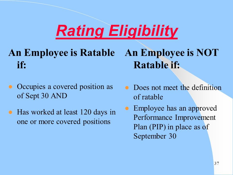 Rating Eligibility An Employee is Ratable if: