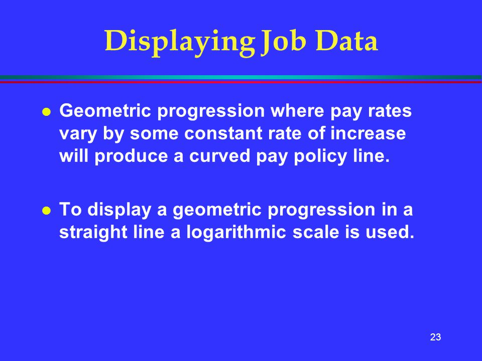 Displaying Job Data Geometric progression where pay rates vary by some constant rate of increase will produce a curved pay policy line.