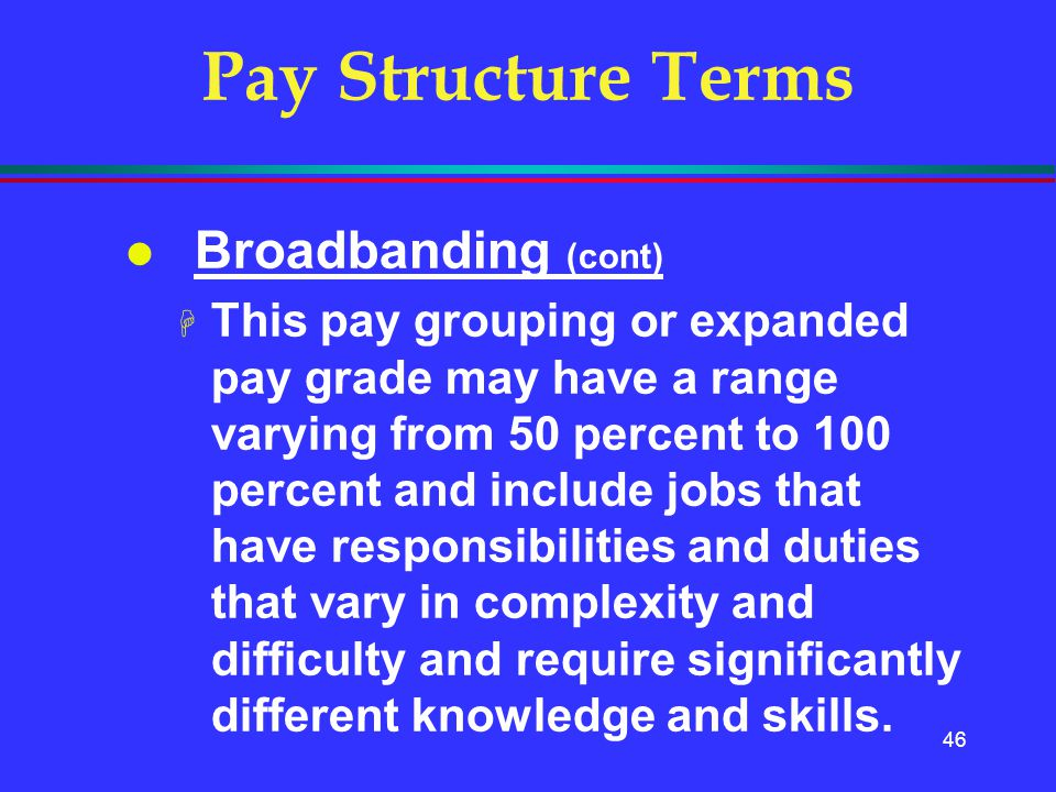 Pay Structure Terms Broadbanding (cont)