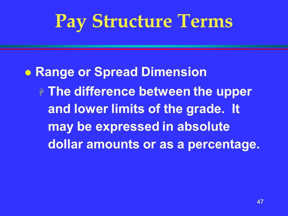 Pay Structure Terms Range or Spread Dimension
