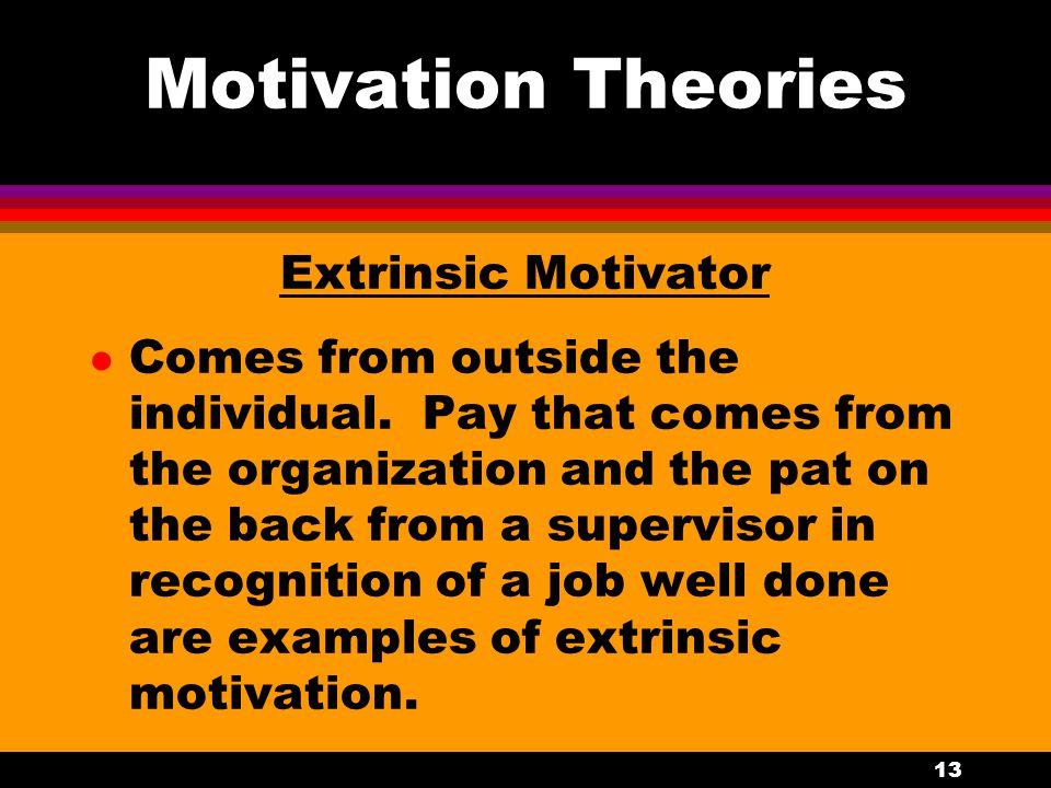 Motivation Theories Extrinsic Motivator