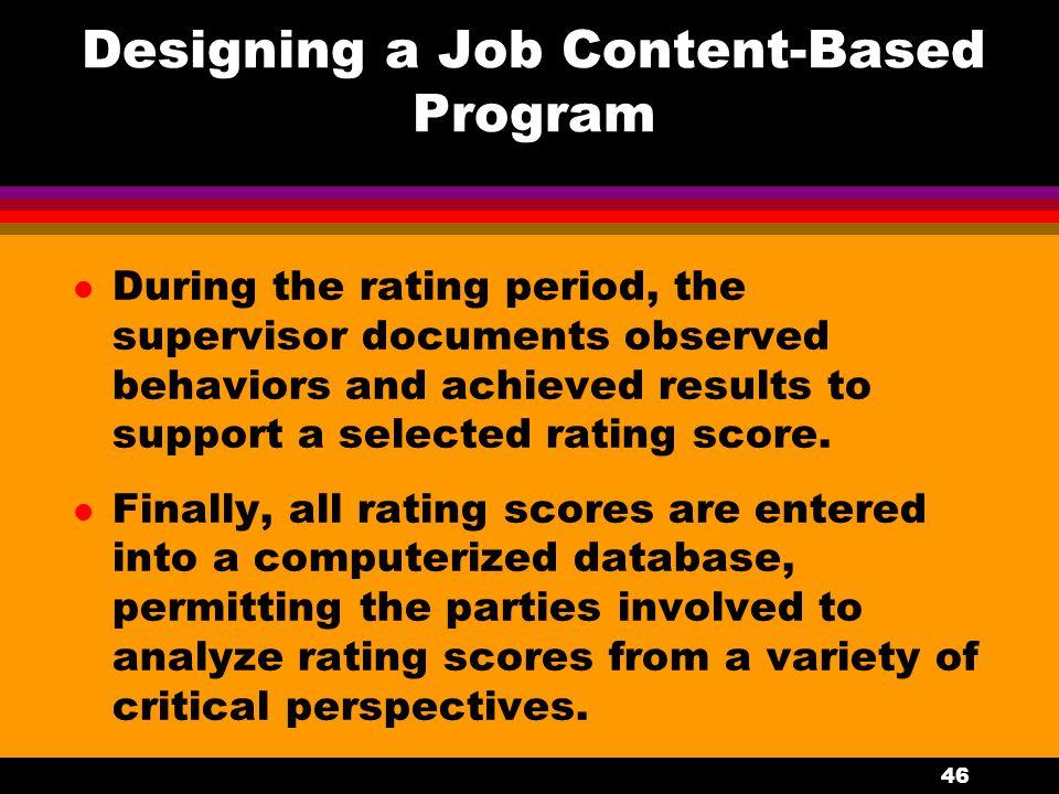 Designing a Job Content-Based Program