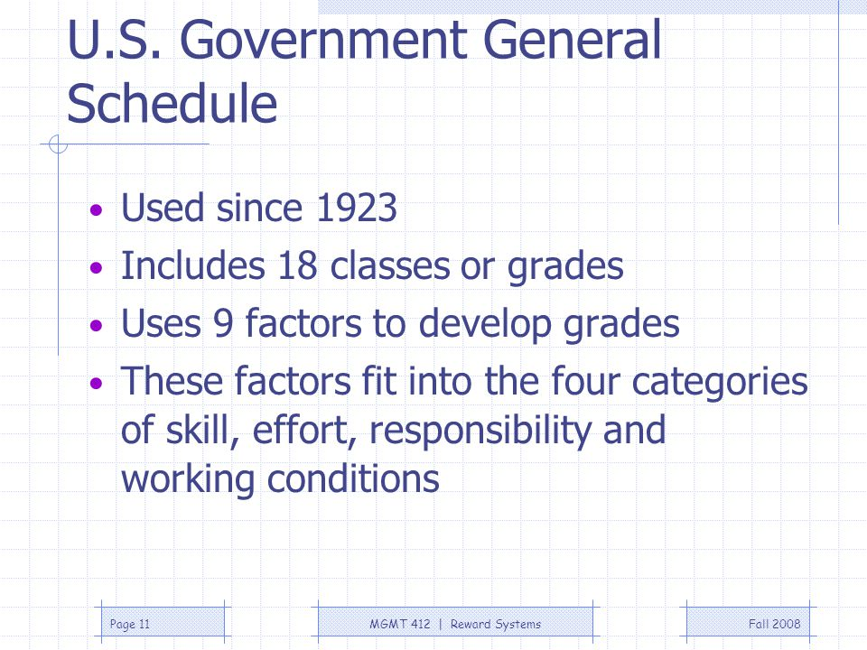 U.S. Government General Schedule