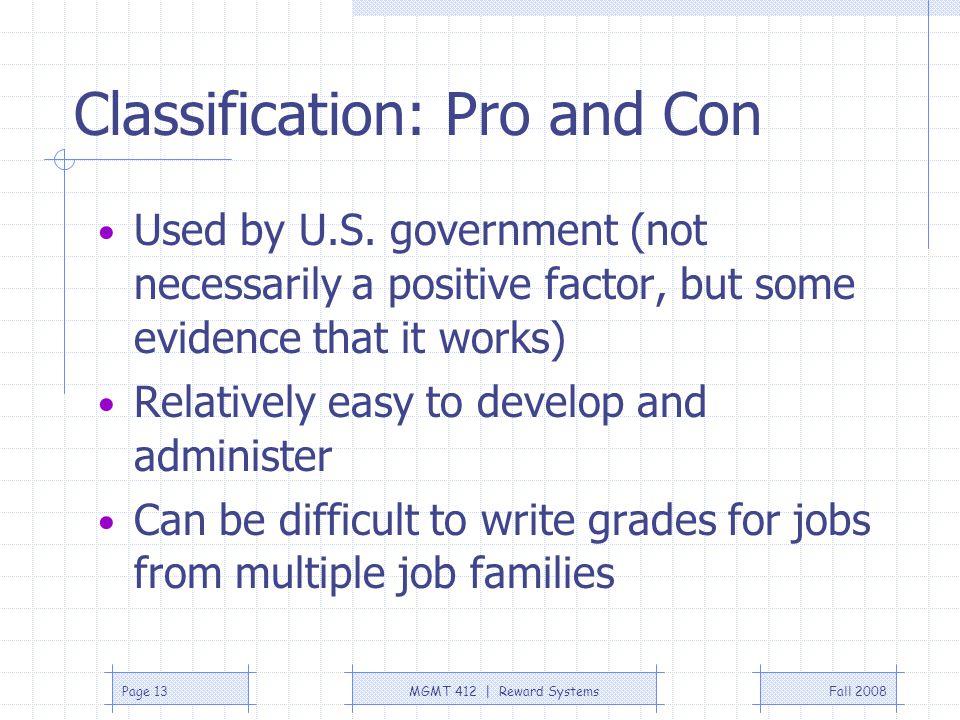 Classification: Pro and Con