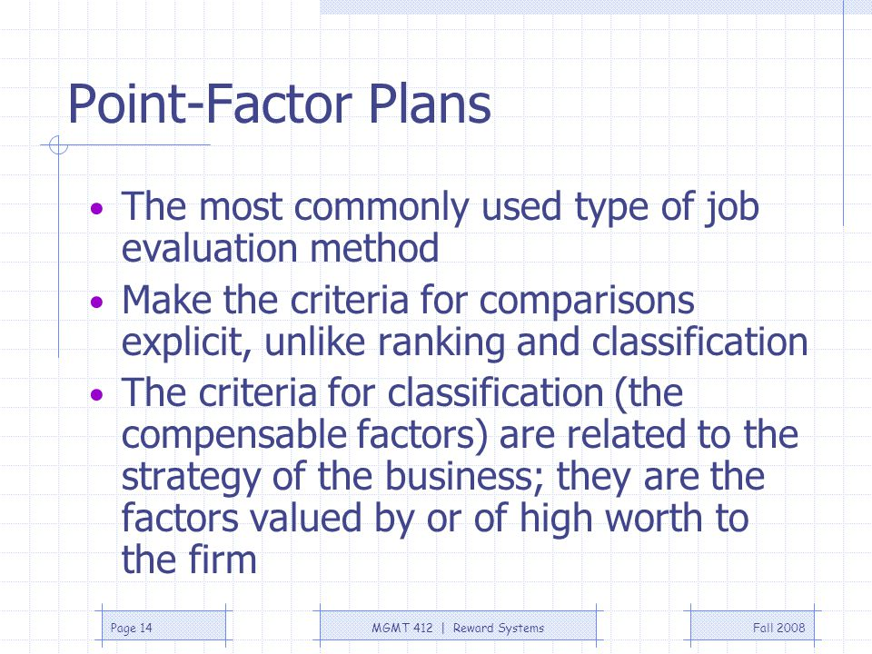 Point-Factor Plans The most commonly used type of job evaluation method.