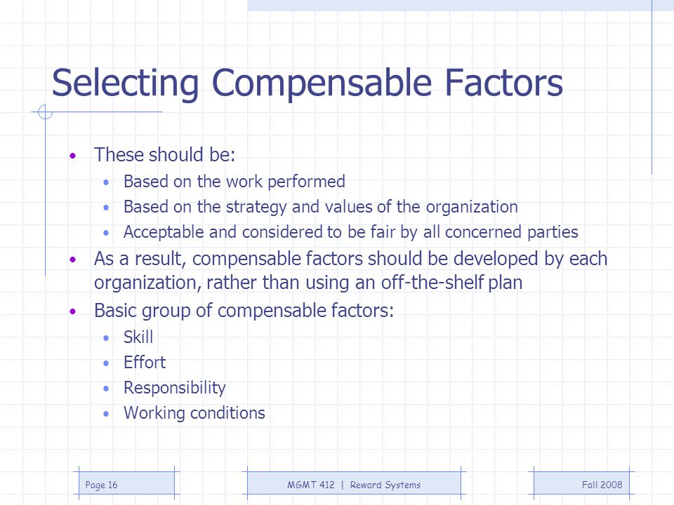 Selecting Compensable Factors