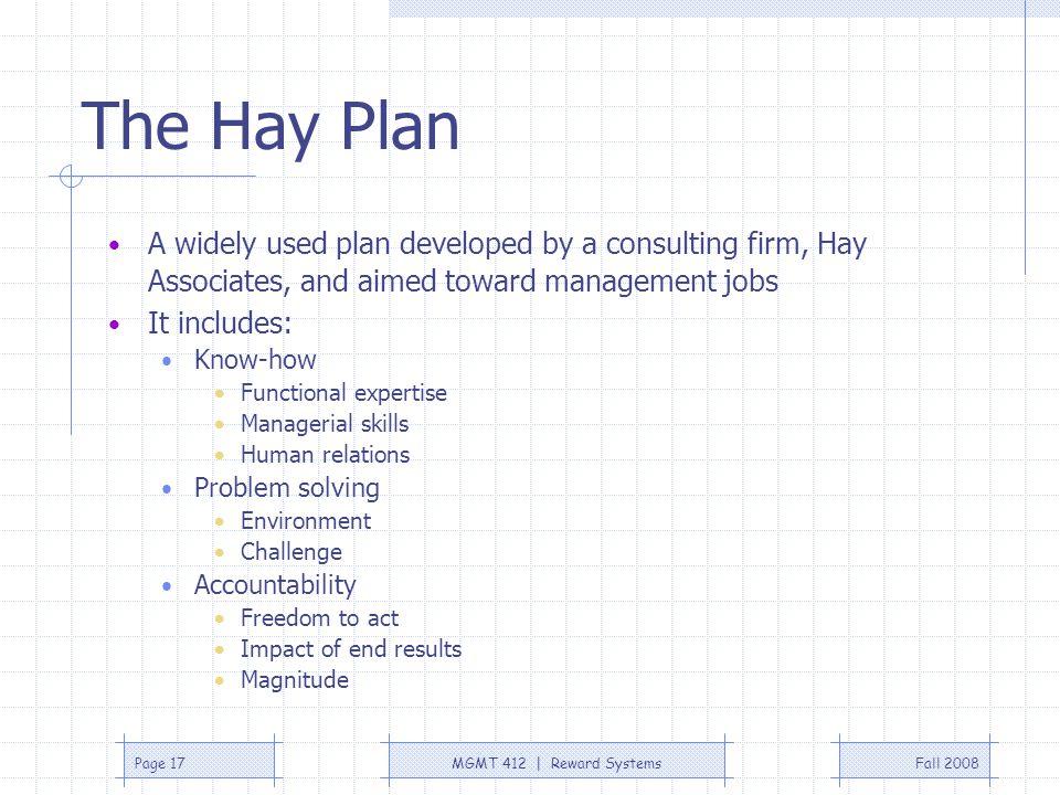 The Hay Plan A widely used plan developed by a consulting firm, Hay Associates, and aimed toward management jobs.