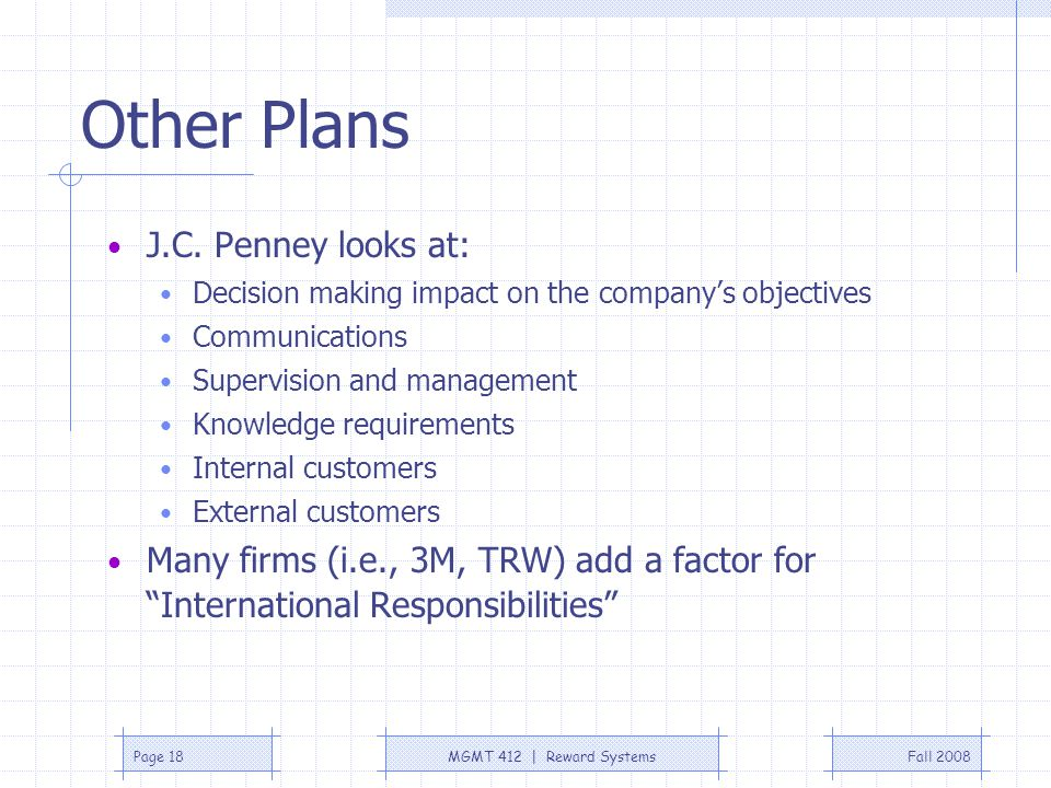 Other Plans J.C. Penney looks at: