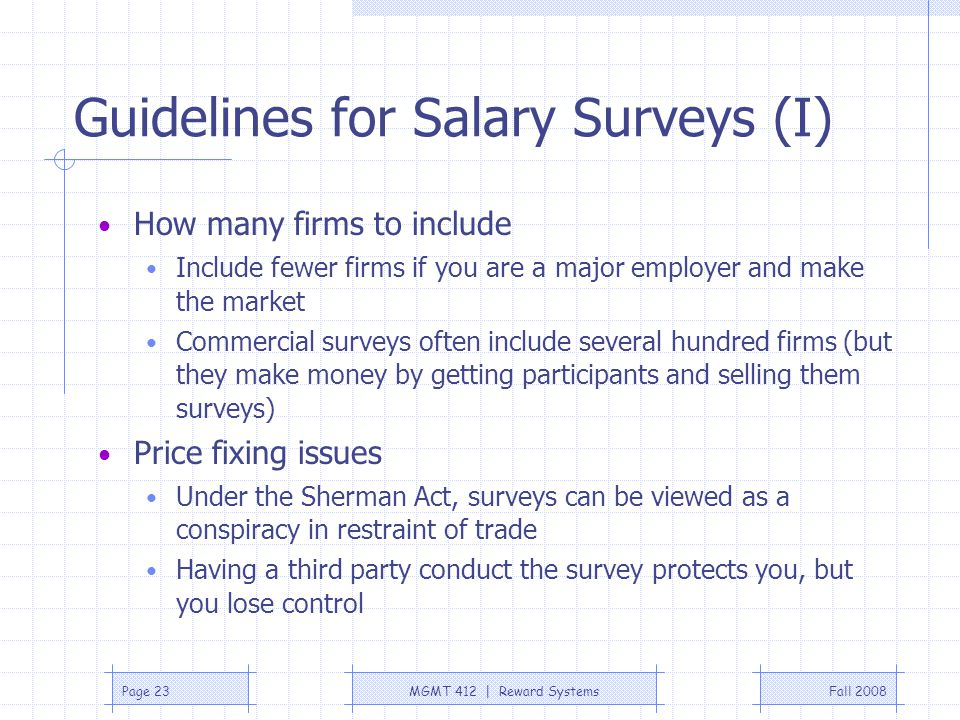 Guidelines for Salary Surveys (I)