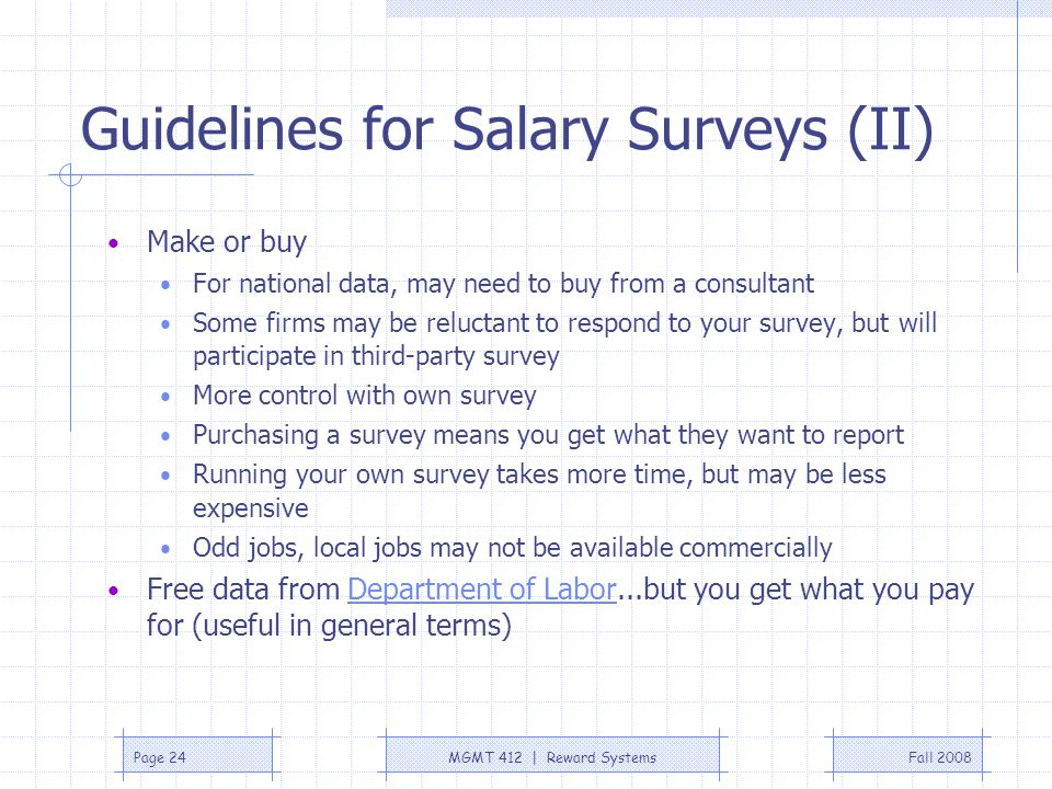 Guidelines for Salary Surveys (II)