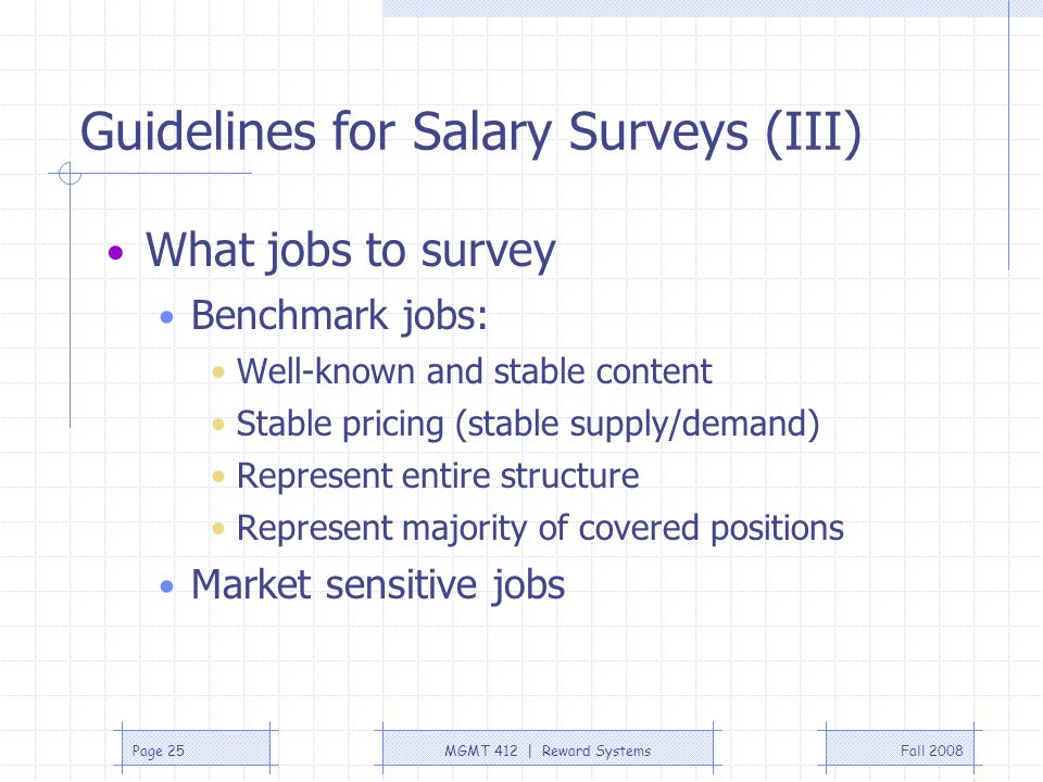 Guidelines for Salary Surveys (III)