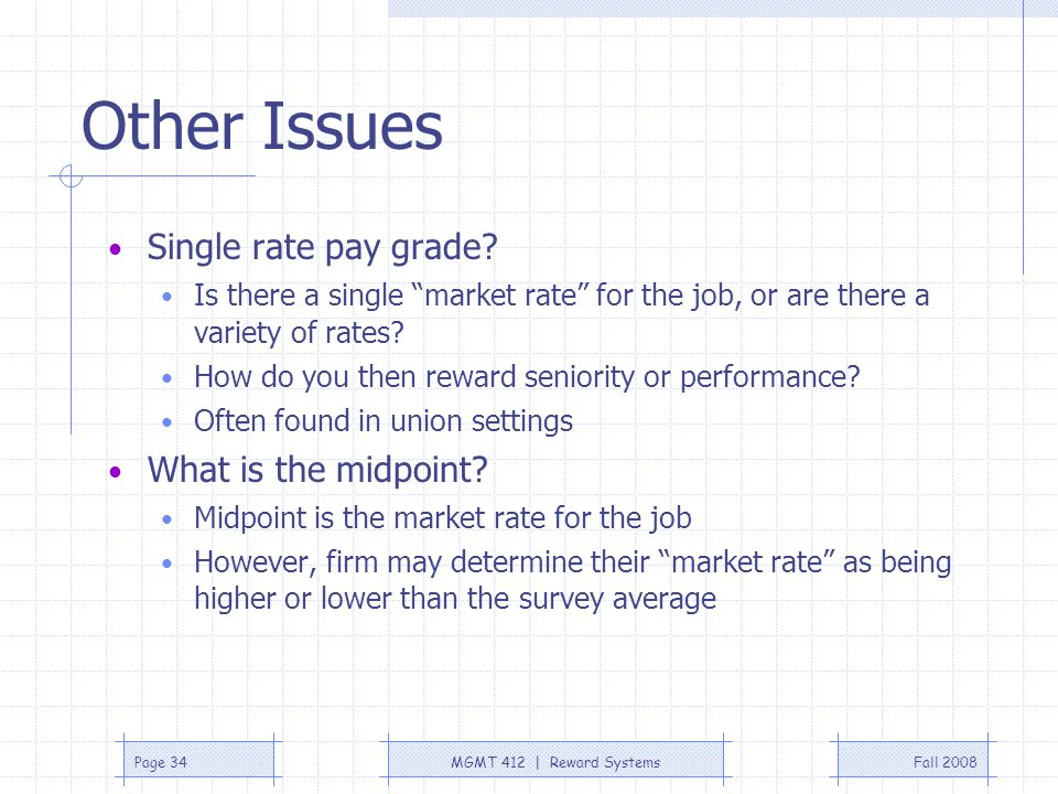 Other Issues Single rate pay grade What is the midpoint