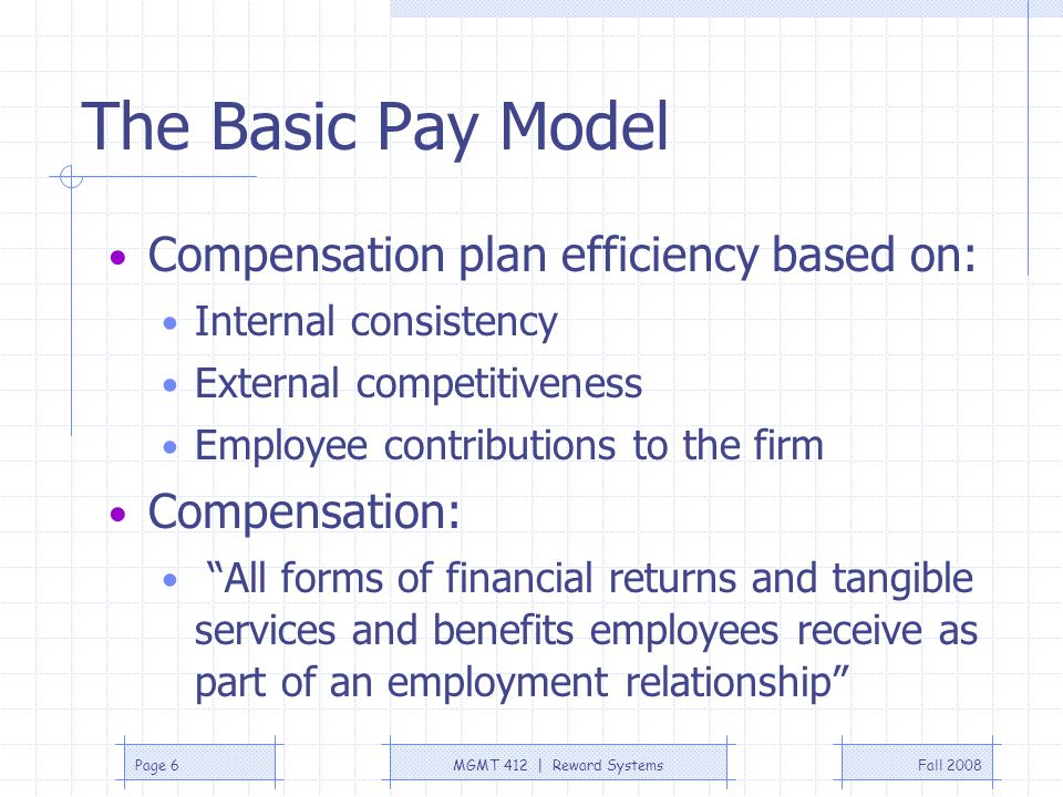 The Basic Pay Model Compensation plan efficiency based on: