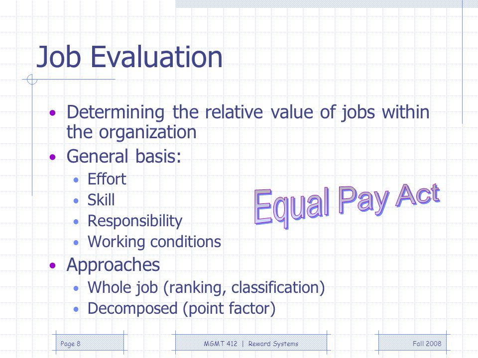 Job Evaluation Equal Pay Act