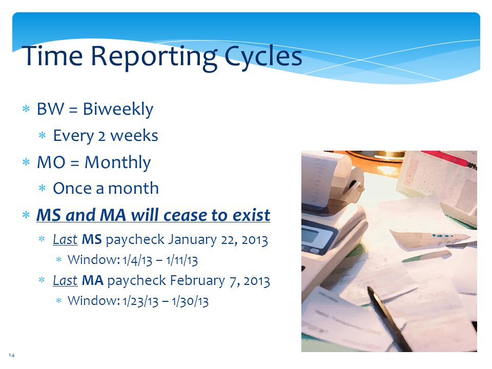 Time Reporting Cycles BW = Biweekly MO = Monthly