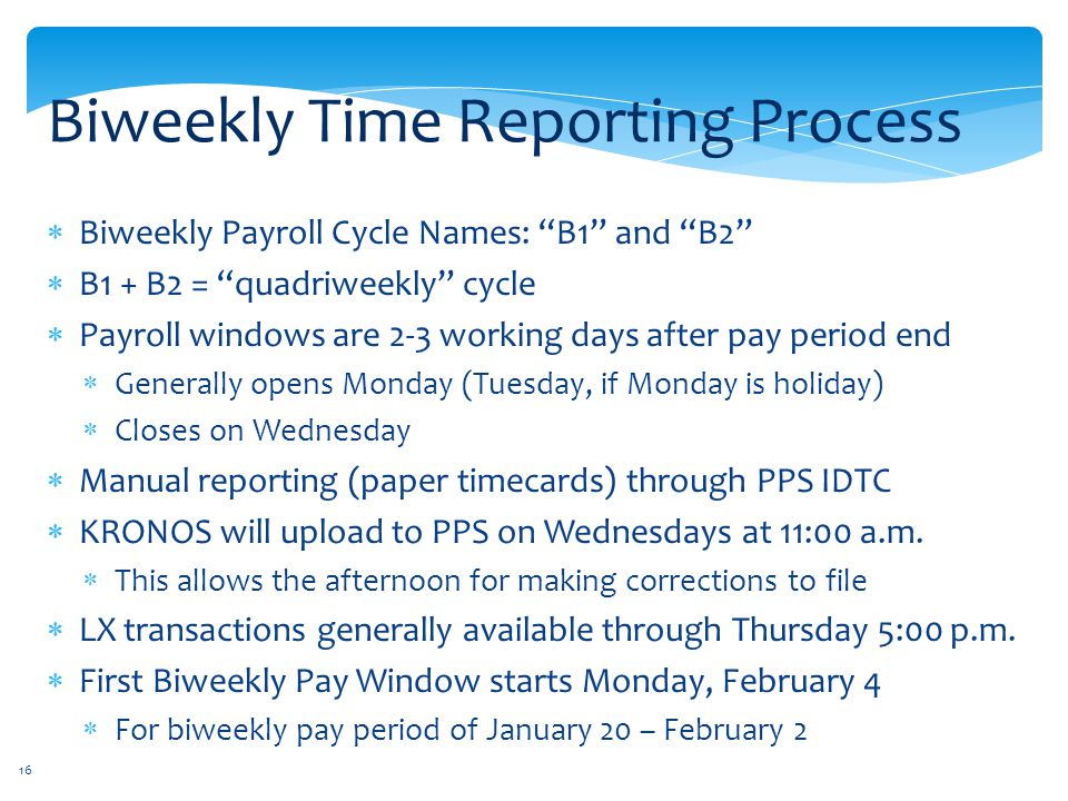 Biweekly Time Reporting Process