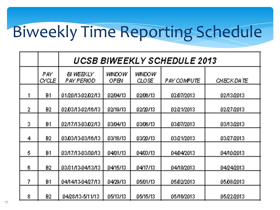 Biweekly Time Reporting Schedule