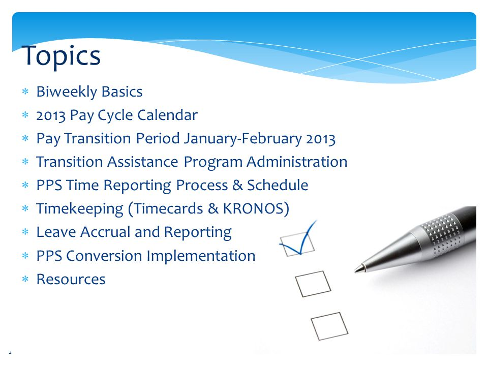 Topics Biweekly Basics 2013 Pay Cycle Calendar