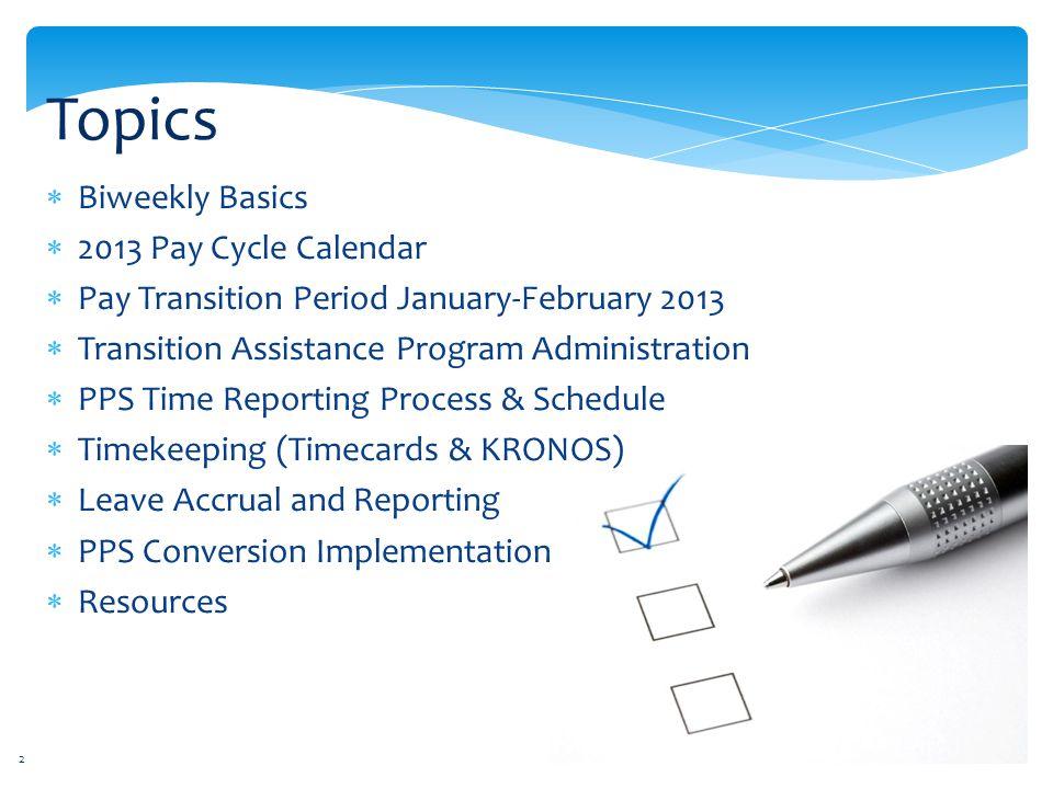 Topics Biweekly Basics 2013 Pay Cycle Calendar