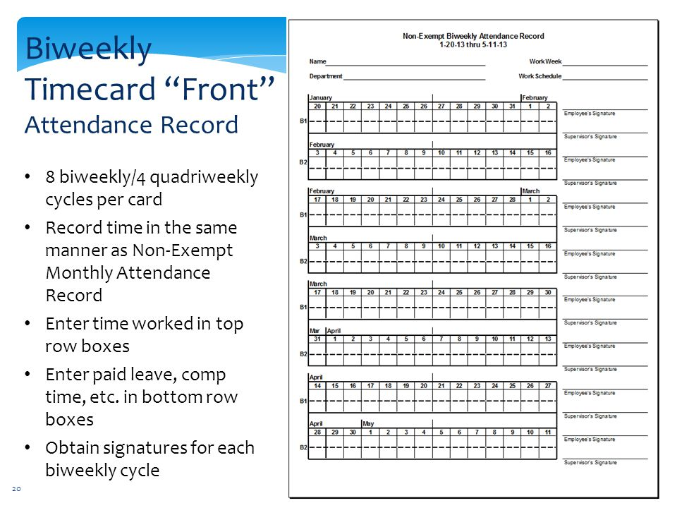 Biweekly Timecard Front Attendance Record