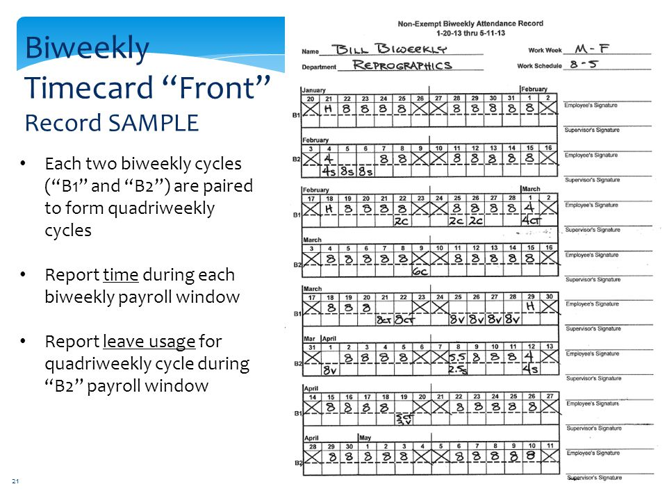 Biweekly Timecard Front Record SAMPLE