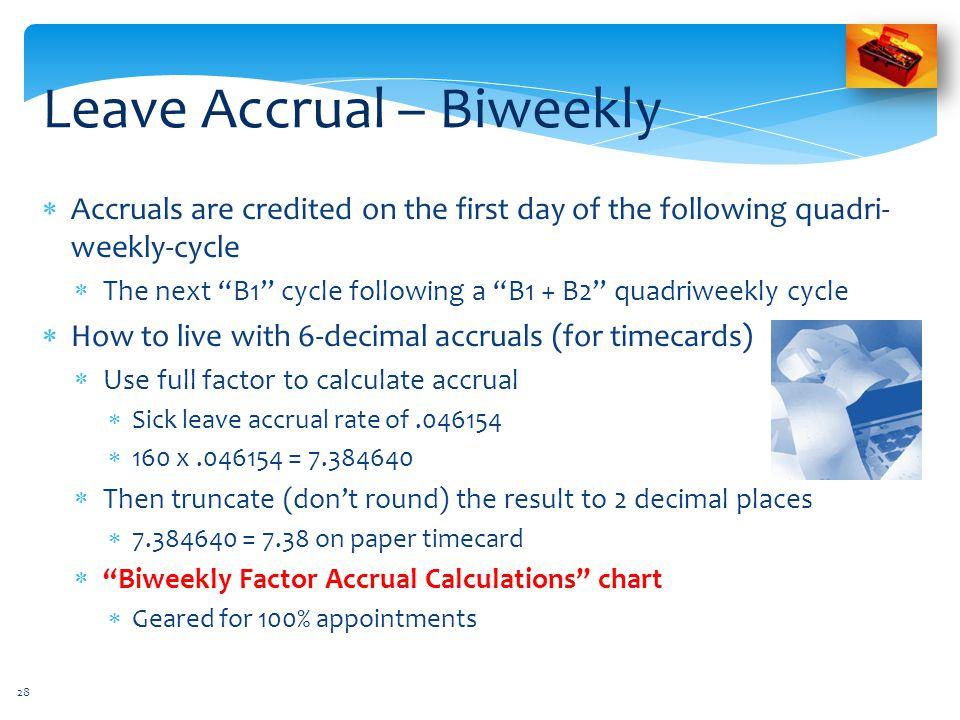 Leave Accrual – Biweekly