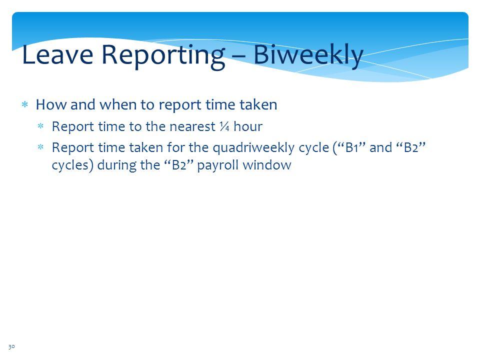 Leave Reporting – Biweekly