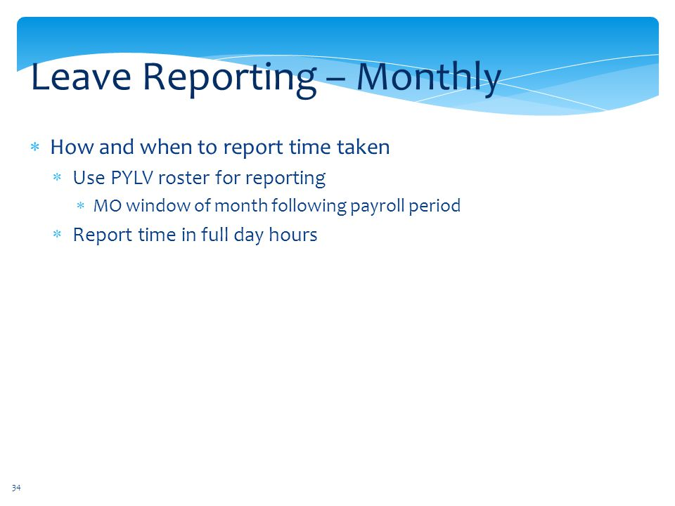Leave Reporting – Monthly