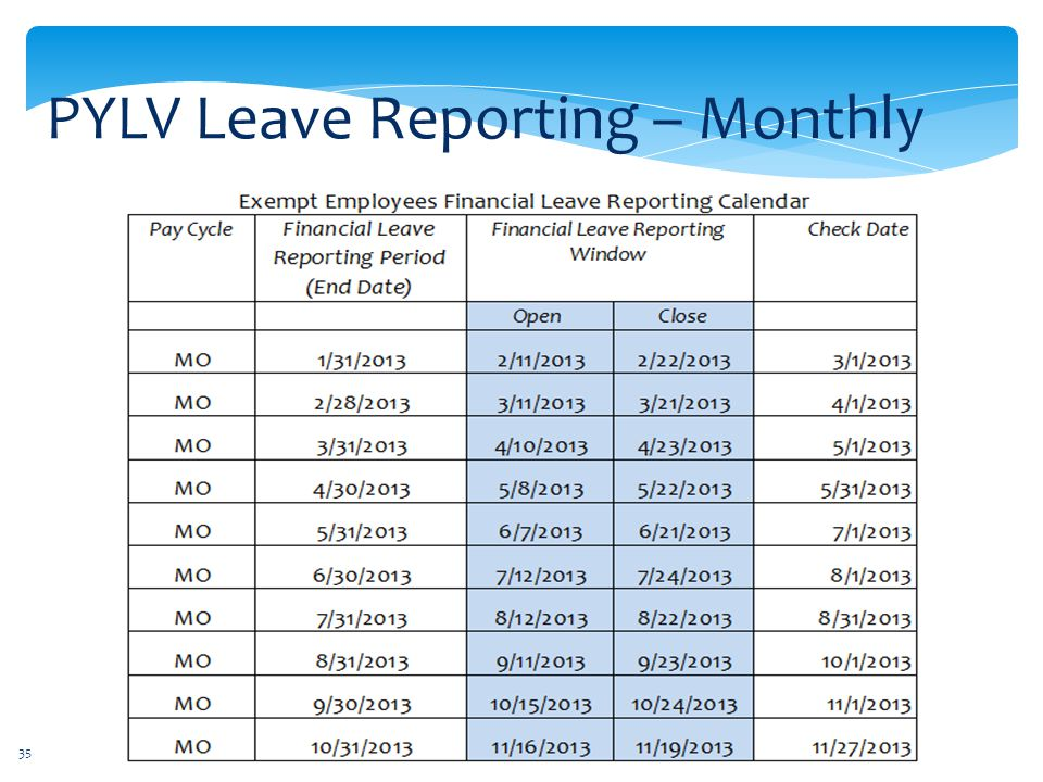 PYLV Leave Reporting – Monthly
