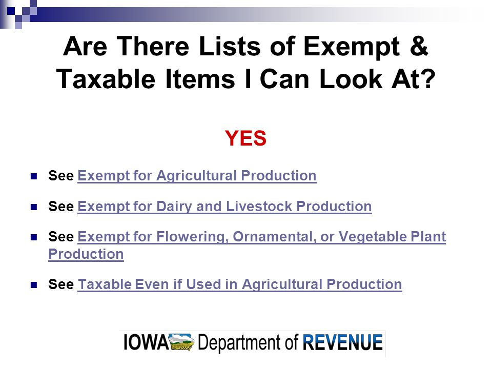Are There Lists of Exempt & Taxable Items I Can Look At