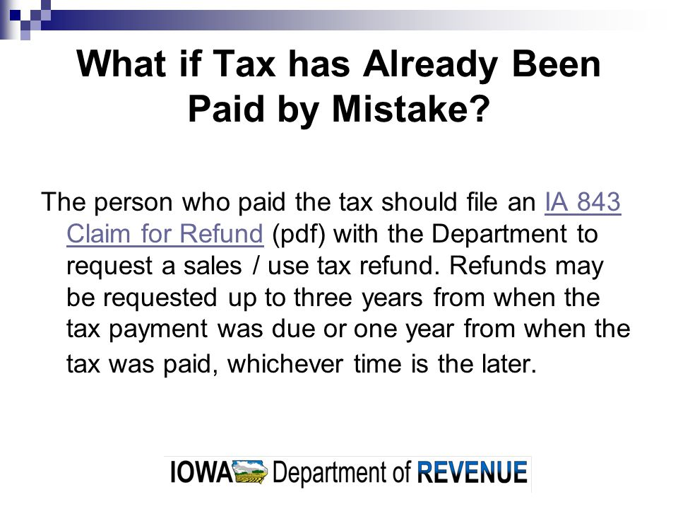 What if Tax has Already Been Paid by Mistake
