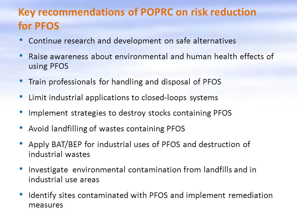Key recommendations of POPRC on risk reduction for PFOS