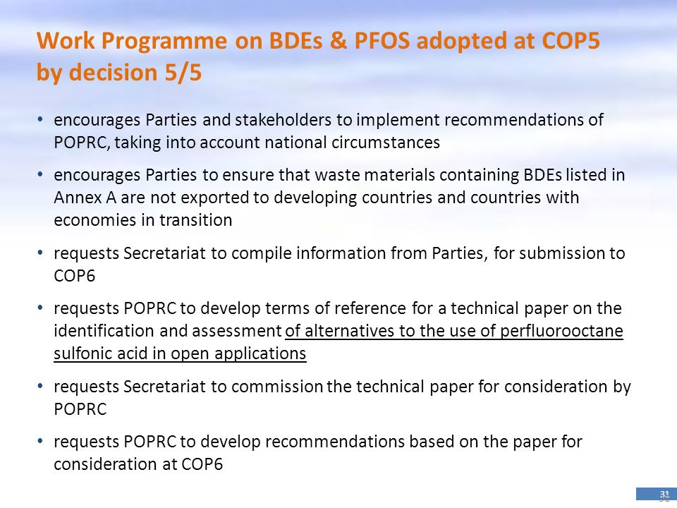 Work Programme on BDEs & PFOS adopted at COP5 by decision 5/5