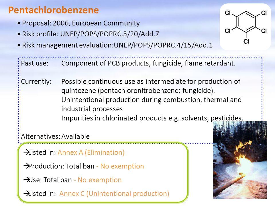 Pentachlorobenzene Proposal: 2006, European Community