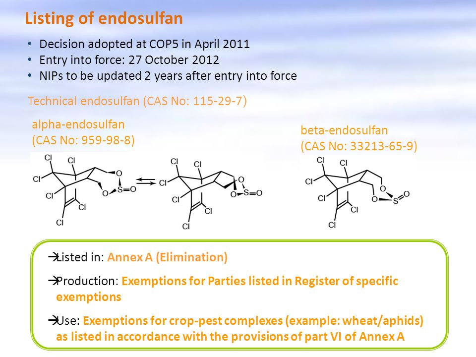 Listing of endosulfan Decision adopted at COP5 in April 2011