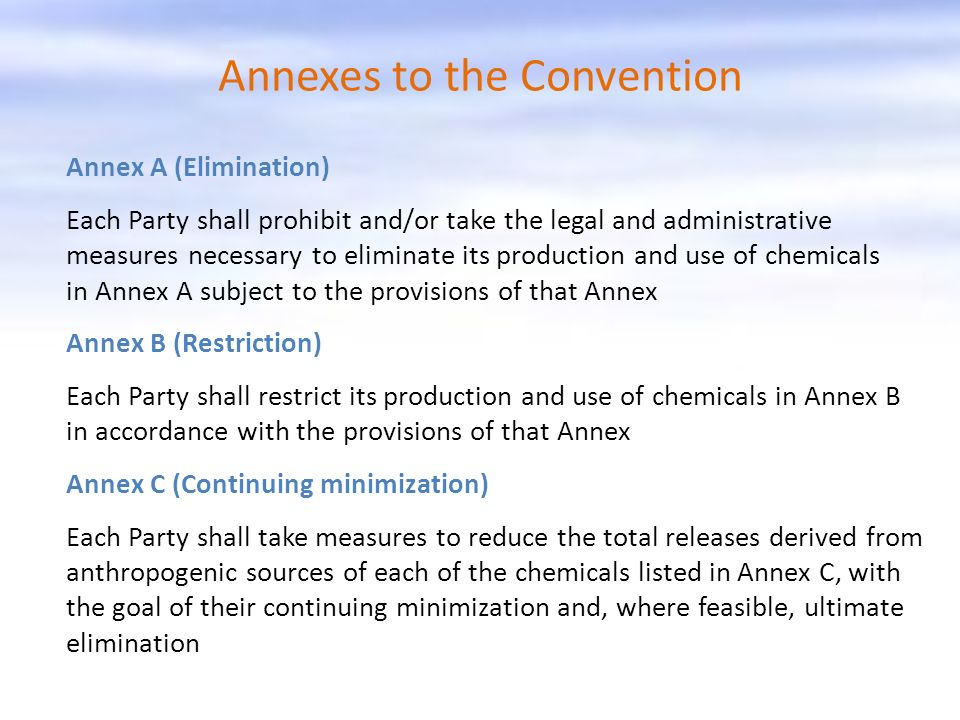 Annexes to the Convention